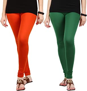 FabLab Cotton Lycra Churidar Leggings(FLCLCOMBO2ODG,Orange, Dark Green,Free Size) Combo Pack of 2