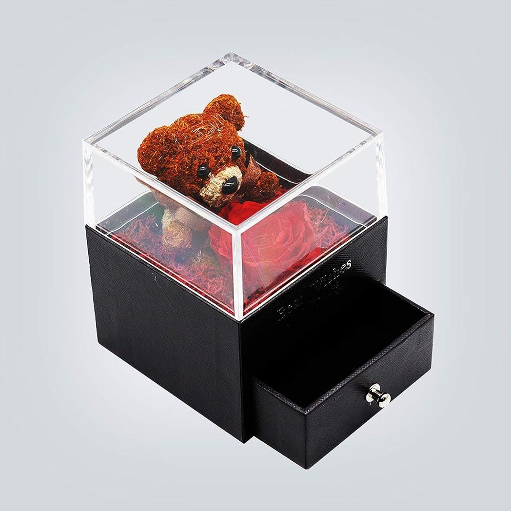 お尻チョップ植物学Forever Rose Bear Medium Vintage Jewelry Box Bear Beauty and the Beast Eternal Rose in Glass Domeバレンタインデーギフト母の日プレゼント-129-、