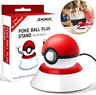 Charge Stand for 2018 Pokeball Plus [with USB Charger Cable], Charging Station Controller Holder Stand for Nintendo Switch Pokemon Lets Go Pikachu Poke Ball [Poke Ball not Included]- [White & Red]