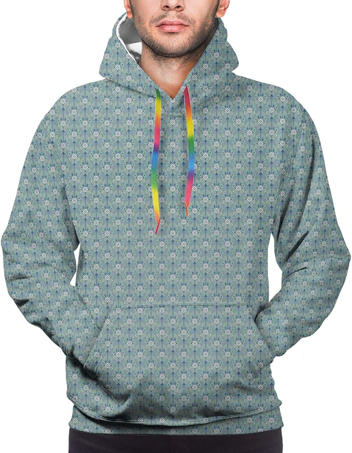 Men's Hoodies Sweatshirts,Damask Flourish Lively Blooms and Leaves with Little White Butterflies