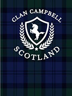 Clan Campbell Scotland: Tartan Blue Plaid Notebook 100 Pages 8.5x11 Scottish Family Heritage Scotland Gifts Scottish Highl...