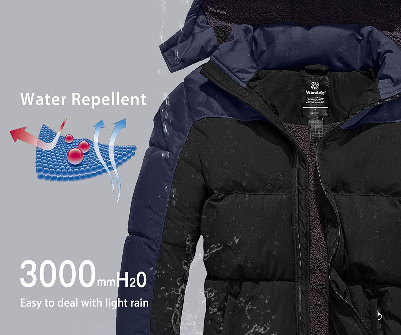 Wantdo Men's Warm Puffer Jacket Thicken Padded Winter Coat with Detachable Hood