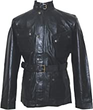 Mens Black Leather Jacket Military Style Belt Soft Wax Genuine Gents Motorbike Panther Nappa New