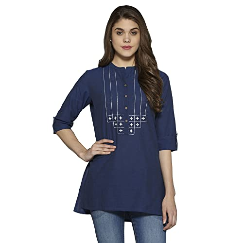 00316f0c55d26e Aahwan Solid Cotton Short Straight Embroidered Kurti for Women (AC-Star)