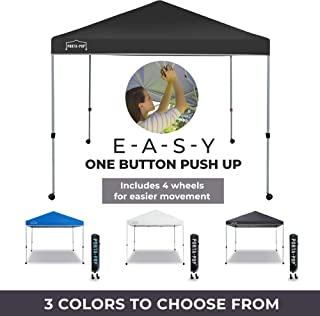 PORTA-POP One Button Easy Pop Up Portable Folding Outdoor Canopy with 4 Wheels and Deluxe Carry Bag, 10x10 ft, Dark Grey