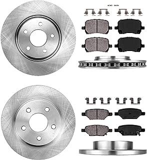 CRK13551 FRONT 295.8mm + REAR 270mm Premium 5 Lug [4] Rotors + [8] Ceramic Pads + Clips [for Chevy Malibu Cobalt Aura]