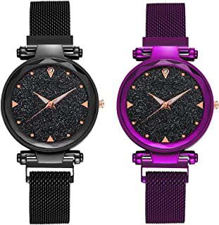 DAMIT Casual Designer Black Dial Combo of Magnet Watch - Pair of 2 - for Girls & Women - Purple & Black