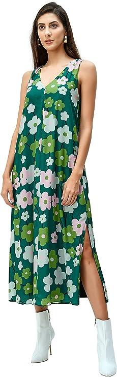 1960s Style Clothing & 60s Fashion eShakti Womens Floral Print Crepe Vented Shift Dress  AT vintagedancer.com