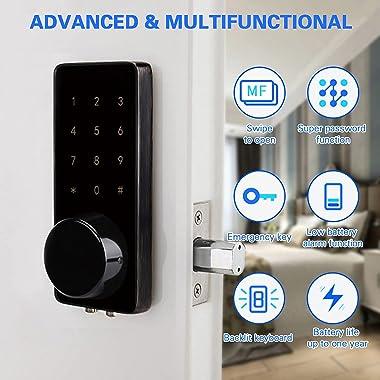 Keyless Entry Door Lock with Bluetooth, Electronic Touchscreen Keypad Deadbolt Lock, Smart Lock Front Door Works with APP Con