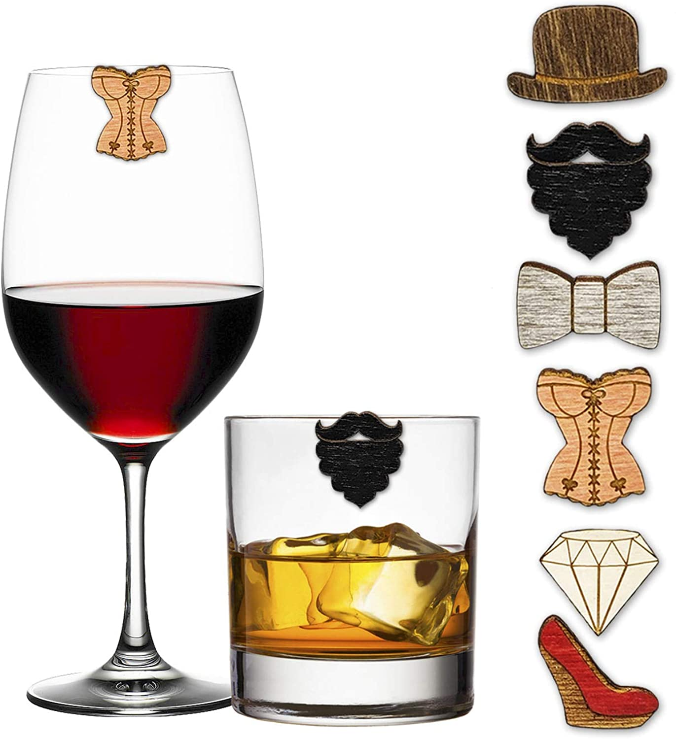 His and Our shop most popular Her Wine Charms Drink Glass - Set 6 Markers Max 53% OFF of