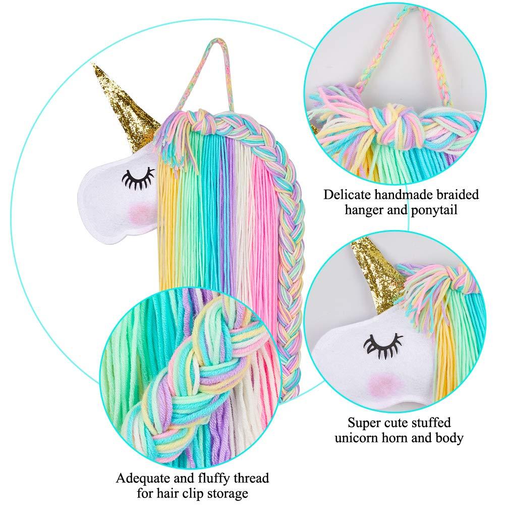Girls Unicorn Hairclips Organiser Wall Kids Hanging Decoration Hair Bow Holder