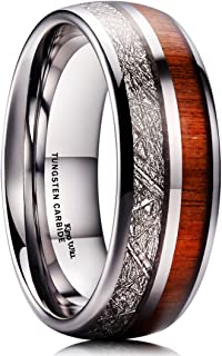 King Will Nature 8mm Tungsten Carbide Wedding Ring Inlaid with Real Wood & Colorful Fragments/Multicolor Engagement Band