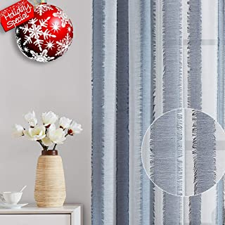 """Fragrantex Striped Blue White Sheer Curtains 84 inches Long for Living Room Eyelash Décor Window Voile Draperies for Bedroom Patio, Light Blue 38"""" Width x 2 Panels, Rod Pocket"""
