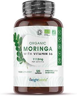 Bio Moringa Oleifera Orgánica Pura Alta Dosis 1112 mg - Antiflamatorio natural y Antioxidante. Activa Sistema Inmune. Aumenta Energía y Metabolismo. Con Vitamina B6. Mejora Digestión. 120 Cápsulas