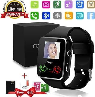 Bluetooth smartklocka med kamera pekskärm, olåst iPhone smartwatch SIM-kortfack, vattentät sport smart armbandsklocka komp...