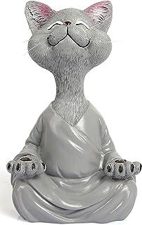 Meditating Cat Figurine, Yoga Sculpture,Yoga Buddha Zen Cat,Home Decor,7 Inches Tall Miniature Figurine, Meditating Statue...