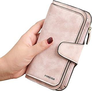 Gran Capacidad Cartera de Cuero de Mujer, Bloqueo RFID Monedero de Piel para Señora, Larga Billetera de Mujer con Bolsillo...