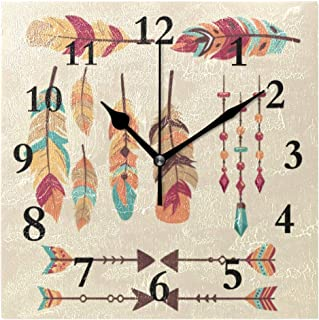 FunnyCustom Boho Chic Vectors Square Wall Clock 7.8 Inch Hanging Clock for Living Room/Kitchen/Bedroom