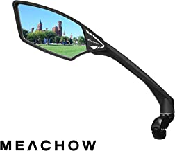 MEACHOW New Scratch Resistant Glass Lens,Handlebar Bike Mirror, Rotatable Safe Rearview Mirror, Bicycle Mirror, (Blue Left...