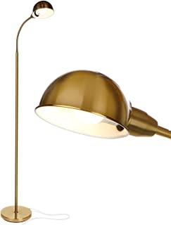 Brightech Regent - LED Reading, Craft & Task Floor Lamp - Free Standing Modern Pole Light with Adjustable Gooseneck - Tall, Bright Office Light Goes Over Desk or Lash Bed - Antique Brass/Gold