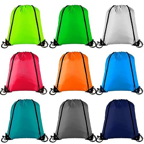 9 Pieces Keriber 9 Colors Drawstring Backpack Bag Tote Sack Bag Cinch Gym Bags for Gym Sport or Travel Storage