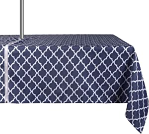 ColorBird Elegant Trellis Tablecloth Water Resistant Spillproof Polyester Fabric Table Cover with Zipper Umbrella Hole for Patio Garden Tabletop Decor, 60 x 84 Inch, Zippered, Navy Blue