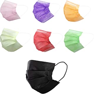 70 Pcs Multicolored Disposable Face Masks | 3-ply Breathable Non-Woven Mouth Cover for Personal | 7 Color 70 Packs Masks I...