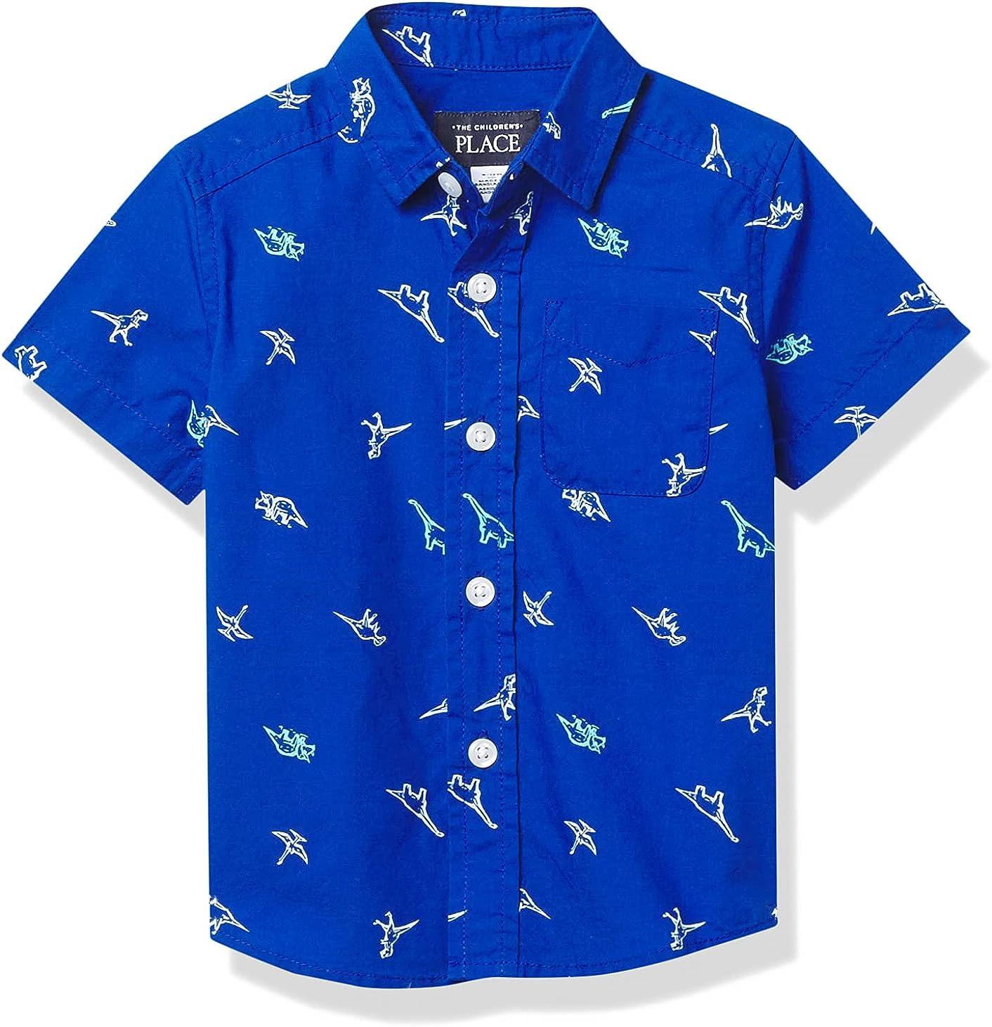 The Children's Place Baby Toddler Boy Short Sleeve Dino Print Poplin Button Down Shirt