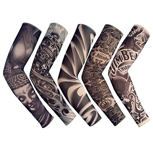 f9a2f809b Temporary Fake Slip On Tattoo Arm Sleeve Cycling Basketball Sun Block  Sleevelet for Men and Women