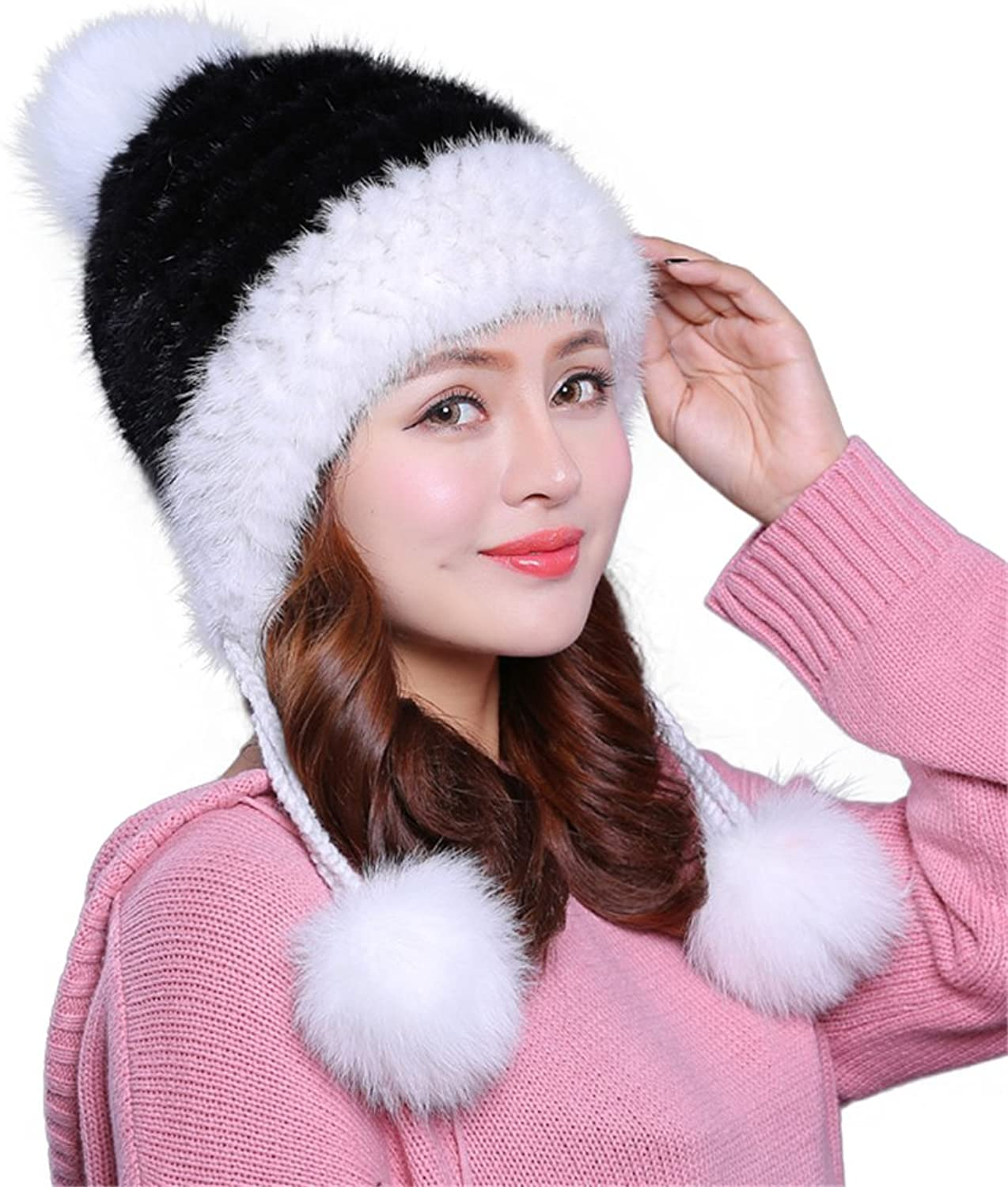 ETHEL ANDERSON Womens Winter Beanie Knitted Mink Real Fur Hats With Fox Fur Earflaps Pom Pom Cap