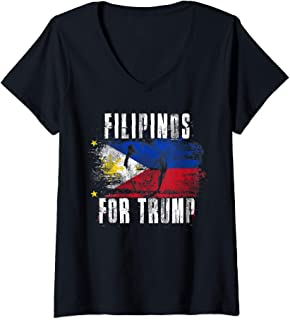 Womens Filipino For Trump - American and Philippines Patriotic 2020 V-Neck T-Shirt