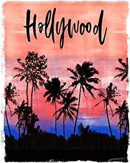 Hollywood: California Christmas Notebook With Lined Wide Ruled Paper For Taking Notes. Stylish Tropical Travel Journal Dia...