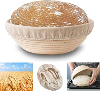 """9"""" Round Banneton Proofing Basket,Natural Rattan Made,Baking Bowl Dough for Large Bread Baking,Home Bakers and Hotels Use,..."""