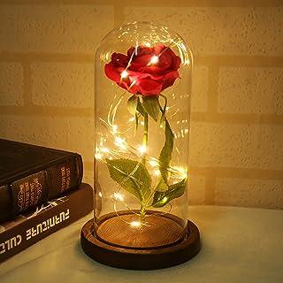 Warmmie - Rosa encantada de La bella y la bestia con luces dentro de una cúpula de cristal y con base de madera. Regalo romántico para el Día de San Valentín, cumpleaños, aniversarios
