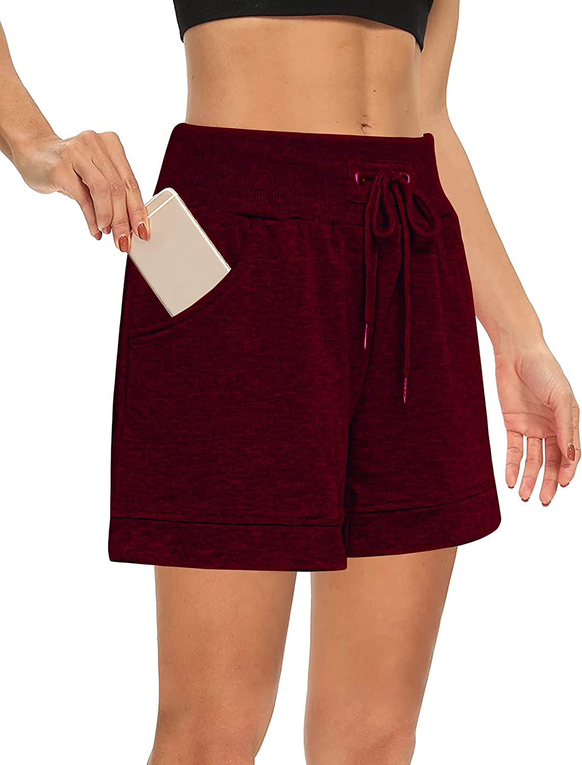 Chriselda Womens Athletic Shorts Drawstring Elastic Waist Workout Casual Comfy Sweat Shorts for Summer with Pockets