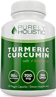 Purely Holistic Turmeric Curcumin 120 Veg Caps with BioPerine, 700mg, 95% Curcuminoids