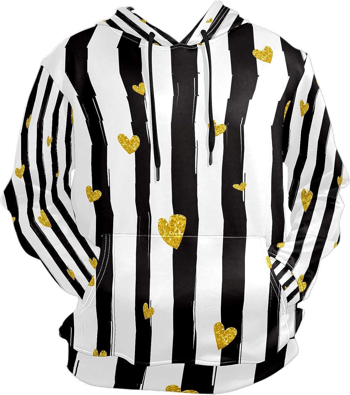 Men's Sport Hoodie Gold Glitter Heart Black White Striped Big and Tall Hoodies for Men Women Oversized Hooded Sweatshirt Hip Hop Pullover Hoodie Midweight Hood for Boys Girls