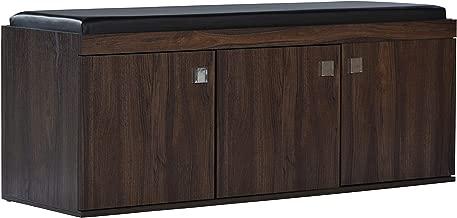 DeckUp Turrano 3-Door Shoe Rack/Cabinet (Walnut, Matte Finish)