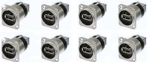 8 Pack Genuine Neutrik NAUSB-W Chassis Panel Mount Reversible USB Gender Changer
