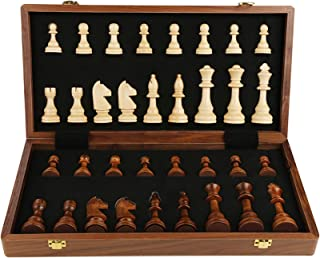 Wooden Board Games Chess Set for Adults, Great for Travel Chess Set Strategy Game - 34 Pieces (Puzzle Entertainment Family)