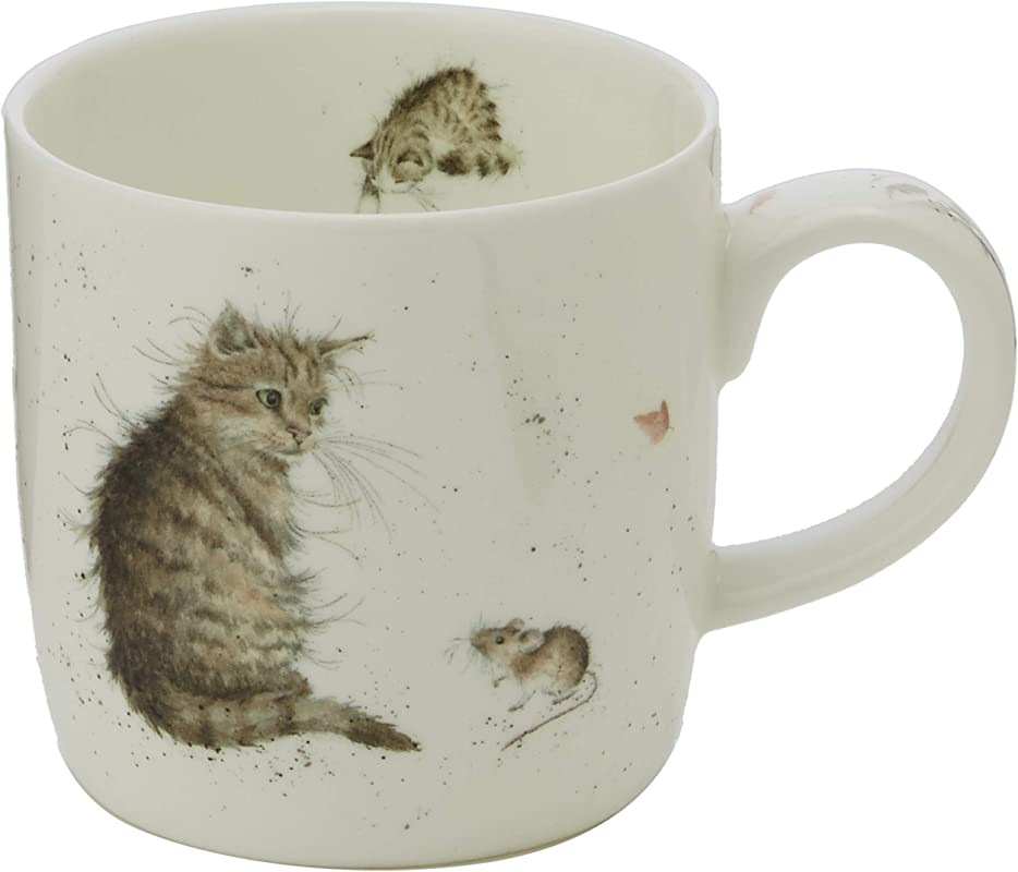 Royal Worcester MMLU5629 XSM Wrendale Cat And Mouse Mug Multi Color