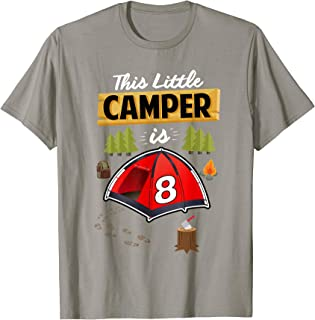 Fun 8th Camping Birthday T-Shirt Camp Lover 8 Year Old Gift
