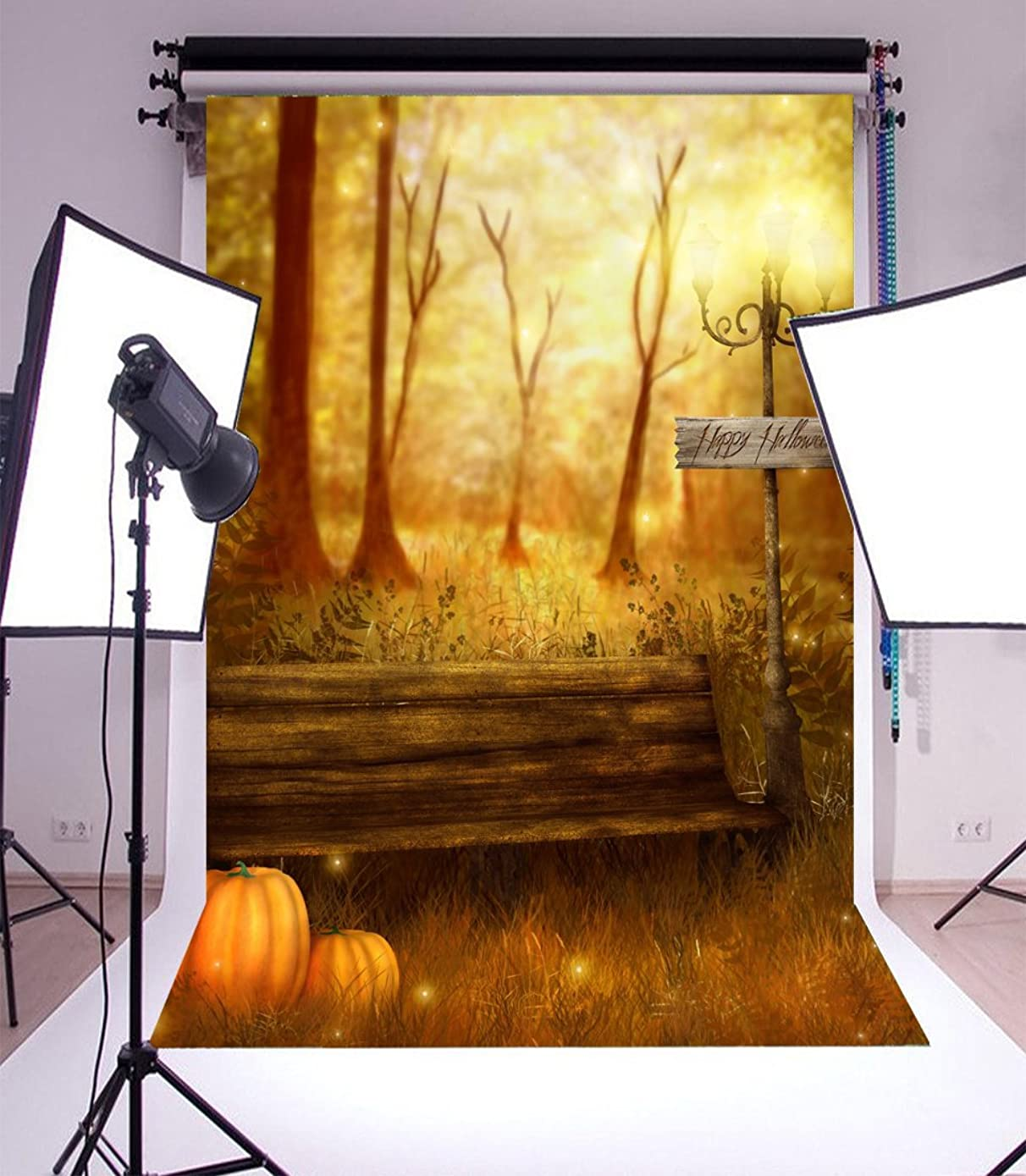 Laeacco Vinyl Backdrop 5x7FT Photography Background Happy Halloween Grove Trees Wood Bench Road Lamp Pumpkins Elf Scene Background 1.5(W) x2.2(H) m Backdrop for Video Photo Studio Props