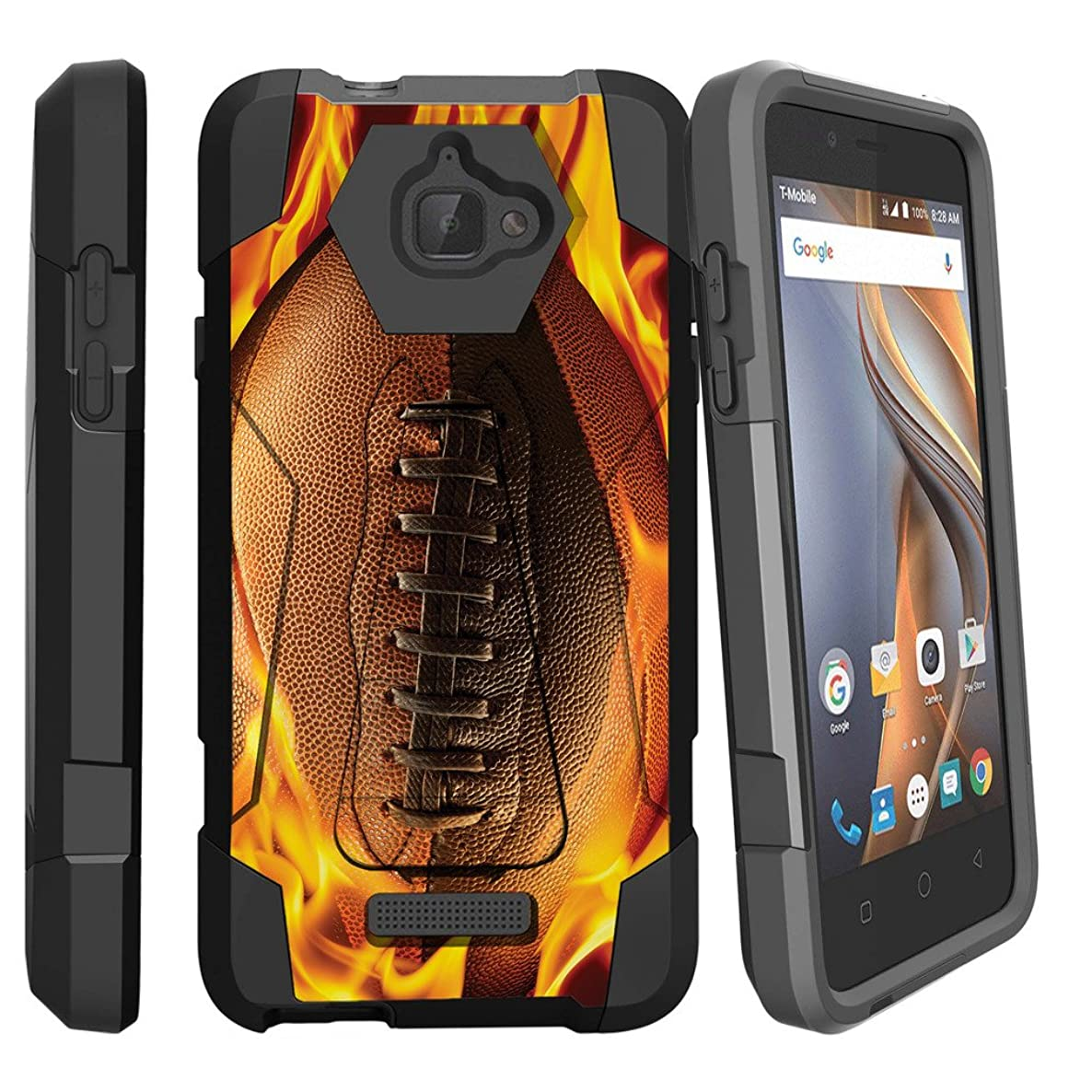 MINITUTLE Compatible with Coolpad 3622A [Shock Fusion] Full Rugged Armor Dual Hybrid Case Hard Stand Bumper Silicone w/Sports Designs Flaming Football