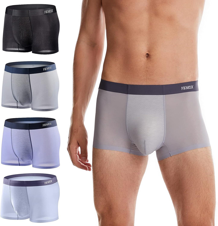 YIENRIX Mens Ice Silk Underwear Breathable Soft Ultra-Thin Underwear for men, Mesh Boxer Brief 4 Pack