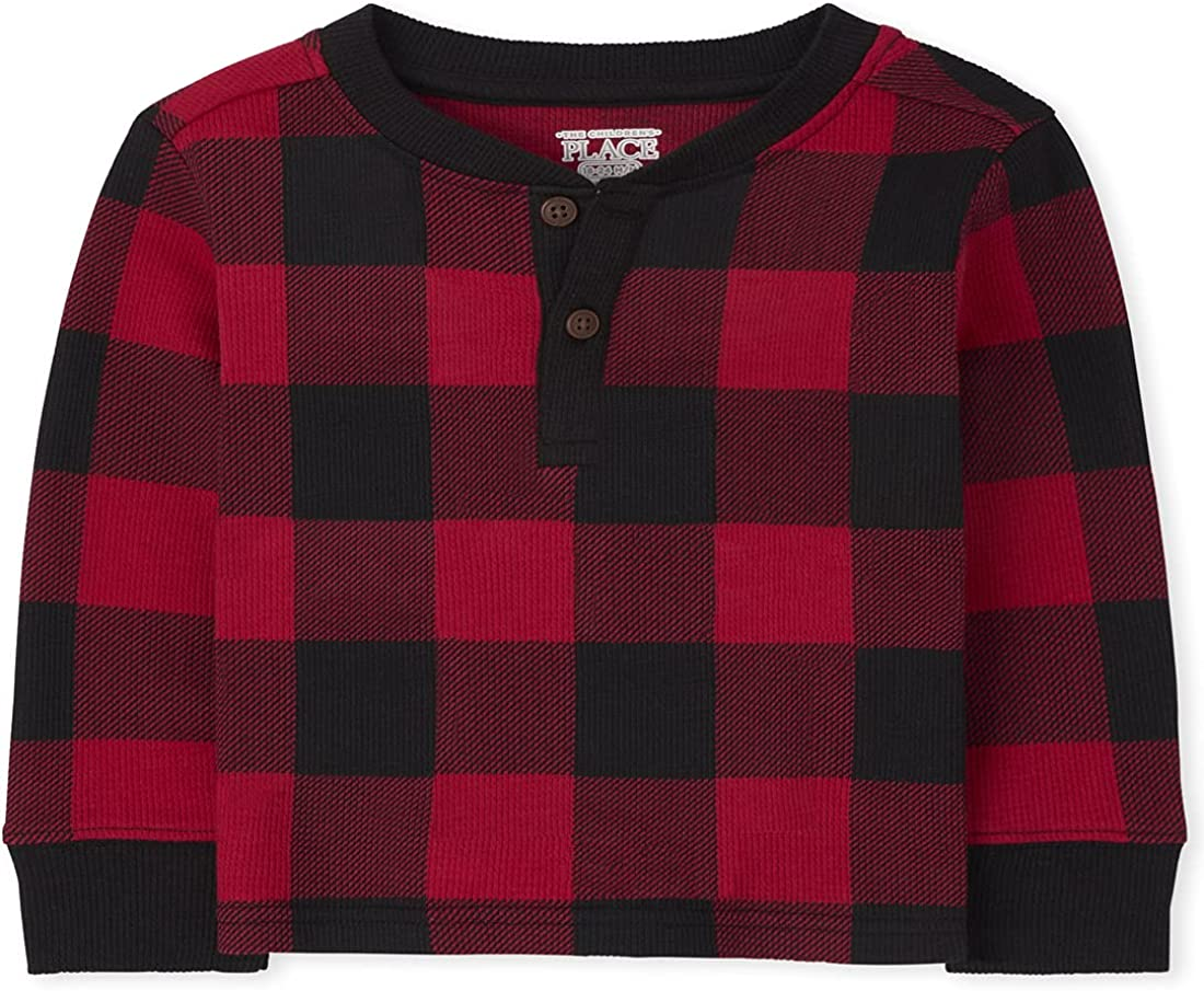 The Children's Place Baby Toddler Boy Long Sleeve Buffalo Plaid Thermal Henley Top