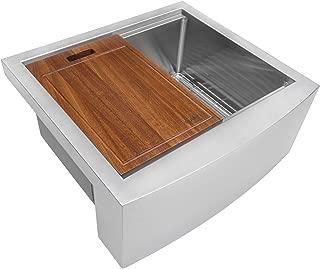 Ruvati 24-inch Apron-front Workstation Farmhouse Kitchen Sink 16 Gauge Stainless Steel Single Bowl - RVH9020