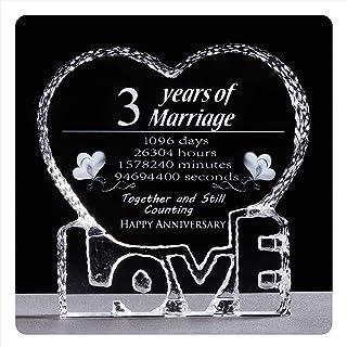 YWHL 3 Year 3rd Wedding Anniversary Crystal Sculpture Keepsake Gifts for Her Wife Girlfriend Him Husband (3 Year)