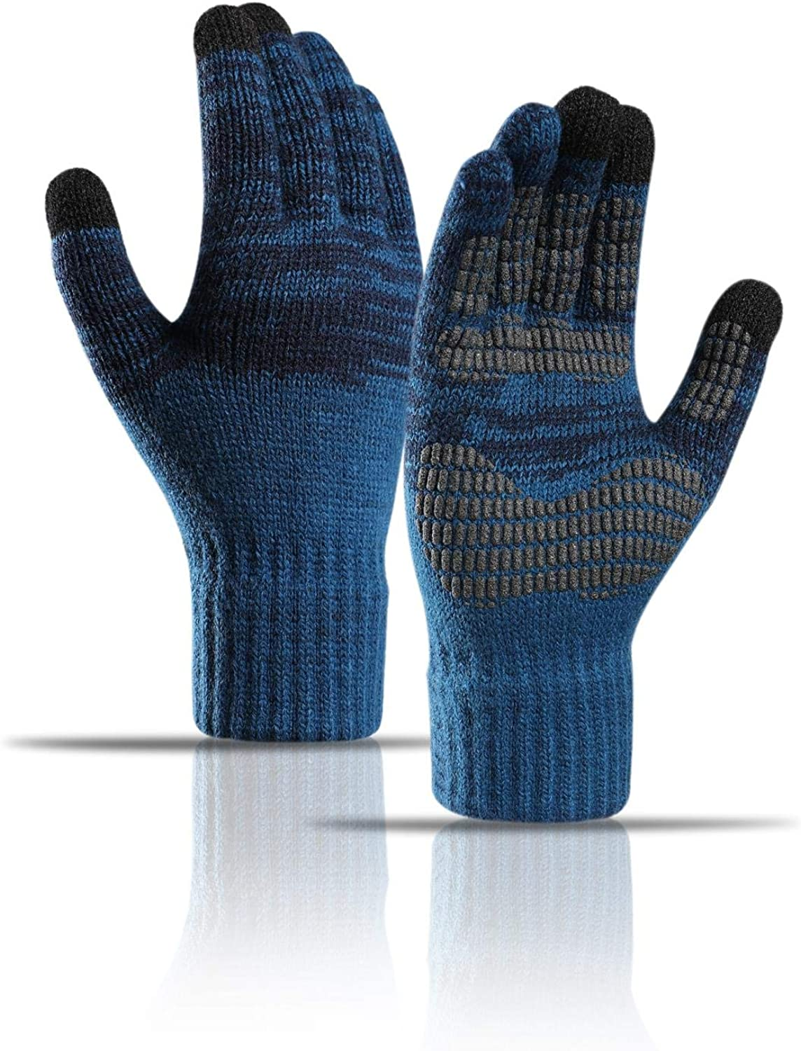 Winter Knit Gloves Touchscreen Warm Thermal Gloves Soft Lining Elastic Cuff Texting Anti-Slip for Women Men