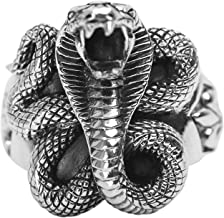 ANAZOZ Vintage Retro Style Punk Cobra Snake S925 Sterling Silver Rings Men